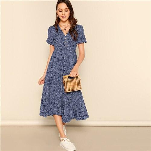 Button Front V-Neck Dress - Dots Clothing Store