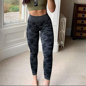 Camo Print High Waist Workout Leggings - Dots Clothing Store