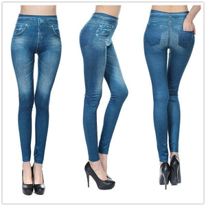 Casual Faux Denim Jeans Leggings - Dots Clothing Store