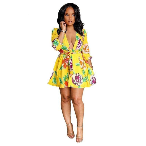 Casual Floral Print Flare Dress with Sashes - Dots Clothing Store