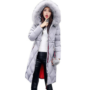 Casual Fur Neck Thick Cotton Hooded Down Jacket - Dots Clothing Store