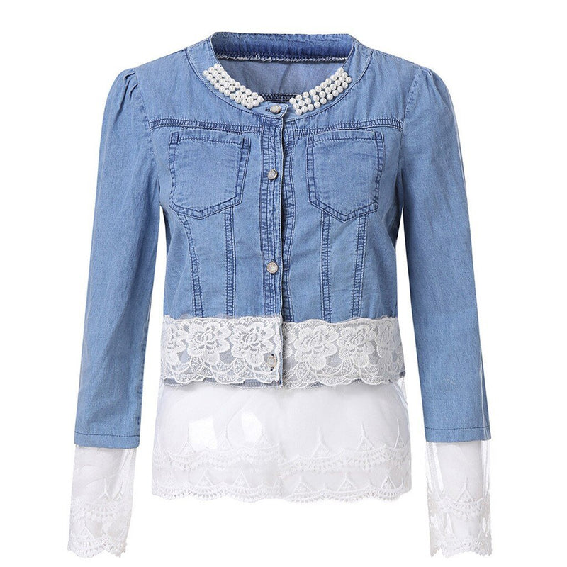 Casual Lace Half Sleeve Denim Jacket - Dots Clothing Store