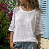 Casual Lace Stitching Blouse - Dots Clothing Store