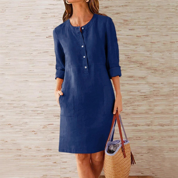 Casual Long Sleeve Pocket Dress - Dots Clothing Store
