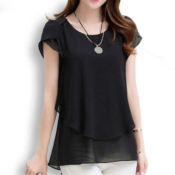 Casual Short Sleeve Chiffon Blouse - Dots Clothing Store