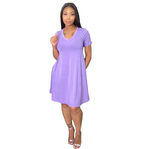 Casual Short Sleeve Solid Color Dress - Dots Clothing Store
