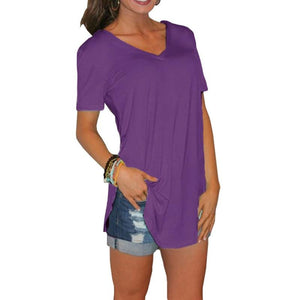 Casual Solid Short Sleeve Tee