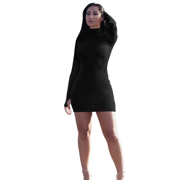 Casual Solid Turtleneck Bodycon Mini Dress - Dots Clothing Store
