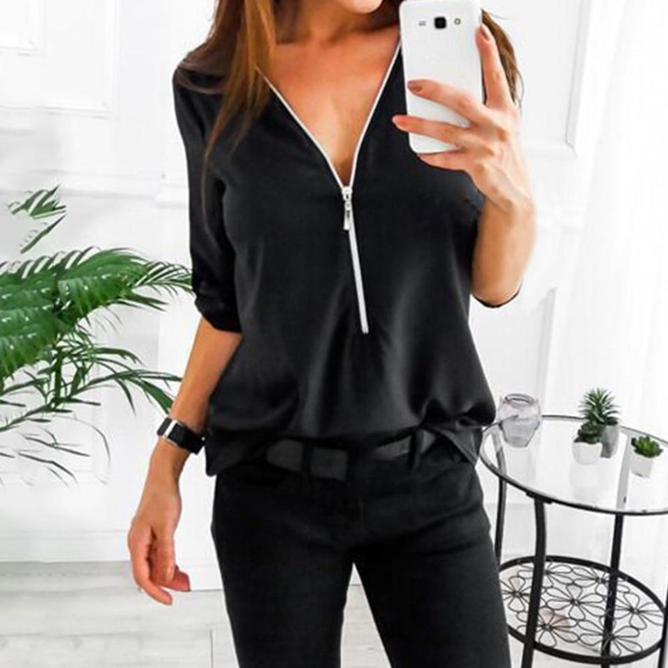 Chic loose short zipper long sleeve blouse - Dots Clothing Store
