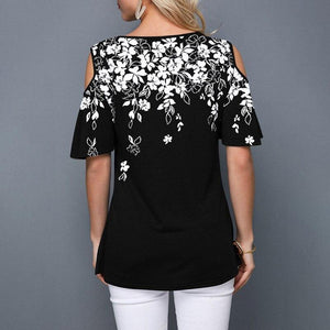 Cold Shoulder Floral Print Tee - Dots Clothing Store