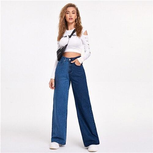 Colorblock Two Tone Wide Leg Jeans - Dots Clothing Store