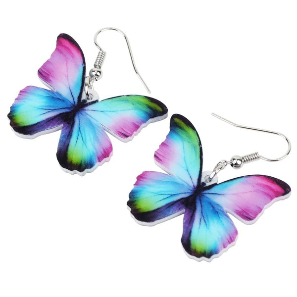 Colorful butterfly wings drop earrings - Dots Clothing Store