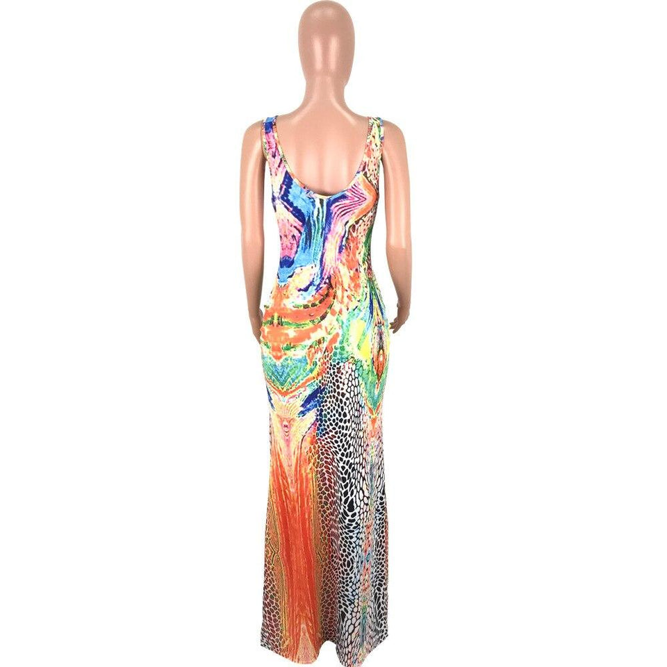 Colorful Floral Print Long Dress - Dots Clothing Store