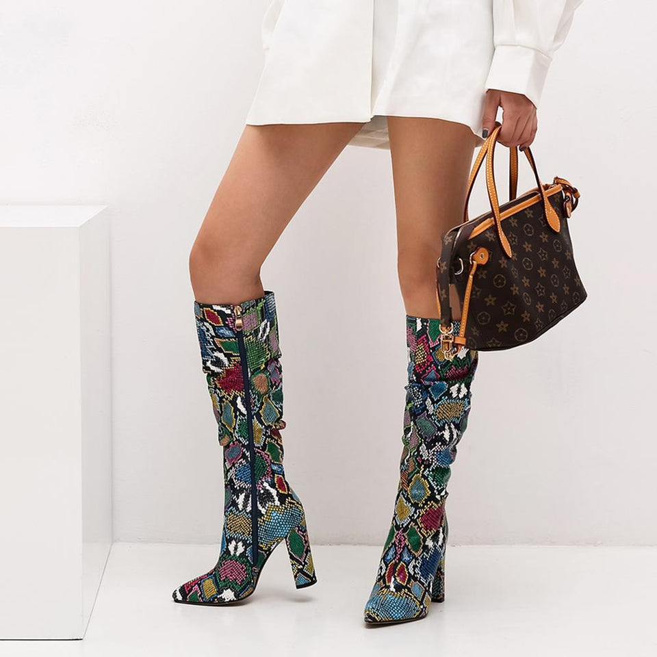 Colorful snakeskin boots - Dots Clothing Store