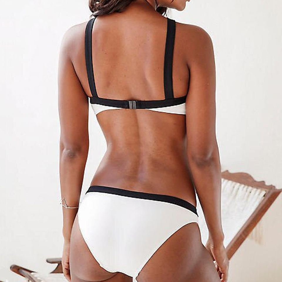Contrasting straps solid color swimwear - Dots Clothing Store