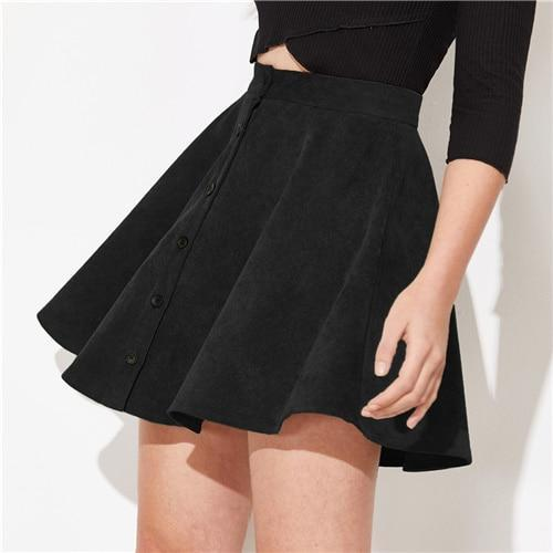 Corduroy High Waist Short Flared Skirt - Dots Clothing Store