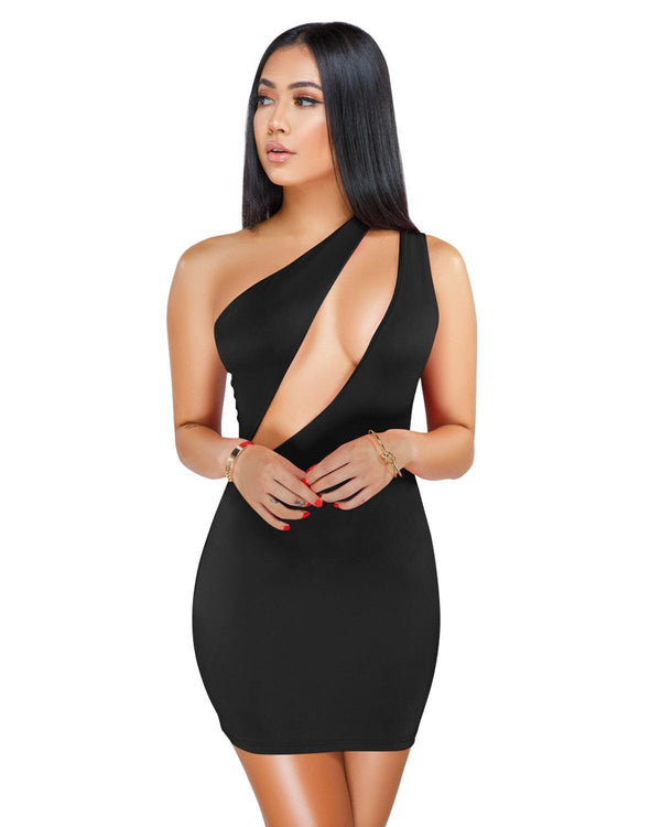 CutOut One Shoulder Slimfit Mini Dress - Dots Clothing Store