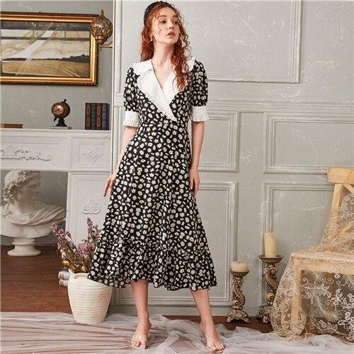 Daisy Print Contrast Collar Ruffled Midi Dress - Dots Clothing Store