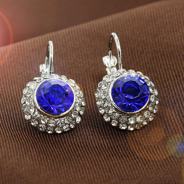 Decorative shapes rhinestone drop earrings - Dots Clothing Store