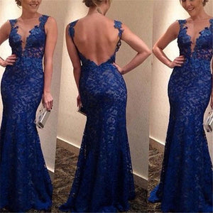 Deep Blue Backless Lace Straps Mermaid Dress - Dots Clothing Store