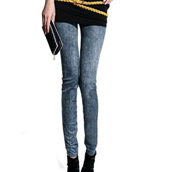 Denim Slim Leggings With Pockets - Dots Clothing Store
