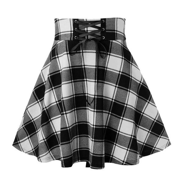 Dots plaid empire waistline skirt - Dots Clothing Store