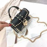 Dots rivets semi transparent shoulder bag + clutch purse - Dots Clothing Store