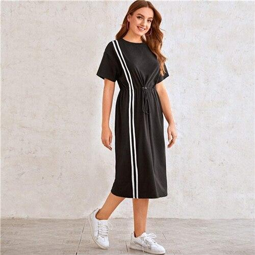 Drop Shoulder Striped Drawstring Waist Dress - Dots Clothing Store