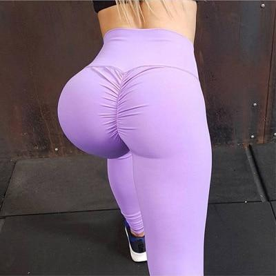 Elastic Ruched Fitness Yoga Pants - Dots Clothing Store