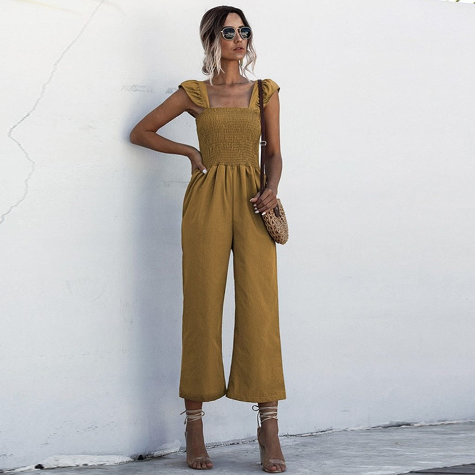 Elastic shirred frill sleeves jumpsuit - Dots Clothing Store