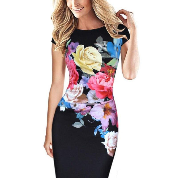 Elegant Flower Ruched Cap Sleeve Dress - Dots Clothing Store