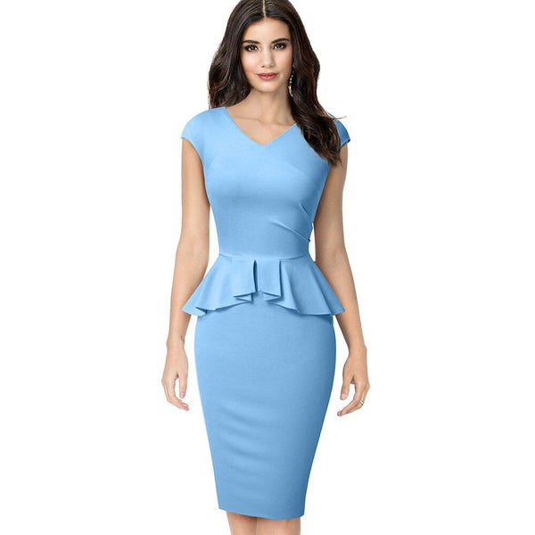 Elegant Solid Color Peplum Bodycon Dress - Dots Clothing Store