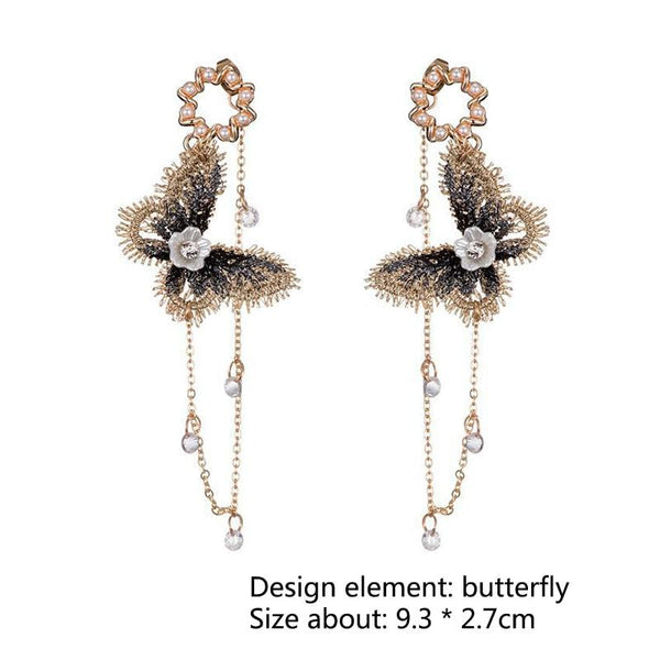 Embroidery butterfly drop earrings - Dots Clothing Store