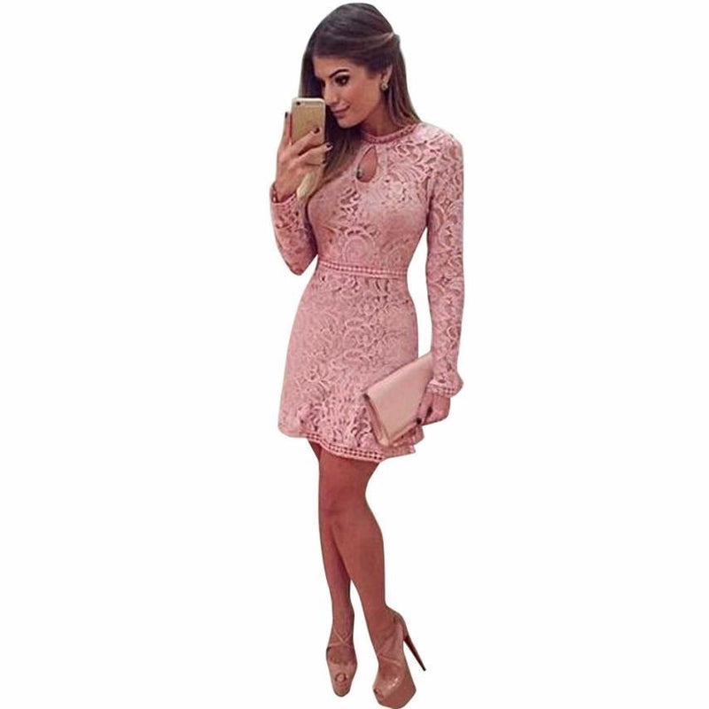 Eyes on me pink lace dress - Dots Clothing Store