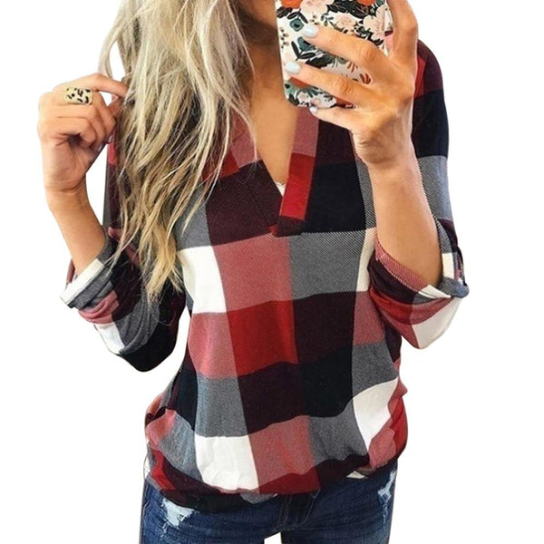 Fashion bright plaid shirt - Dots Clothing Store