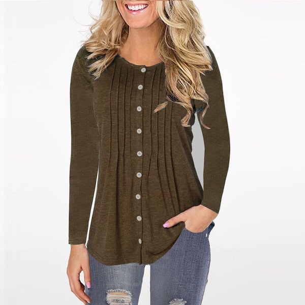 Fashion Button Pleated Detailing Top - Dots Clothing Store