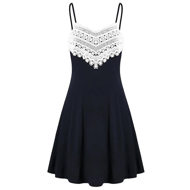 Fashion Crochet Lace Mini Slip Dress - Dots Clothing Store