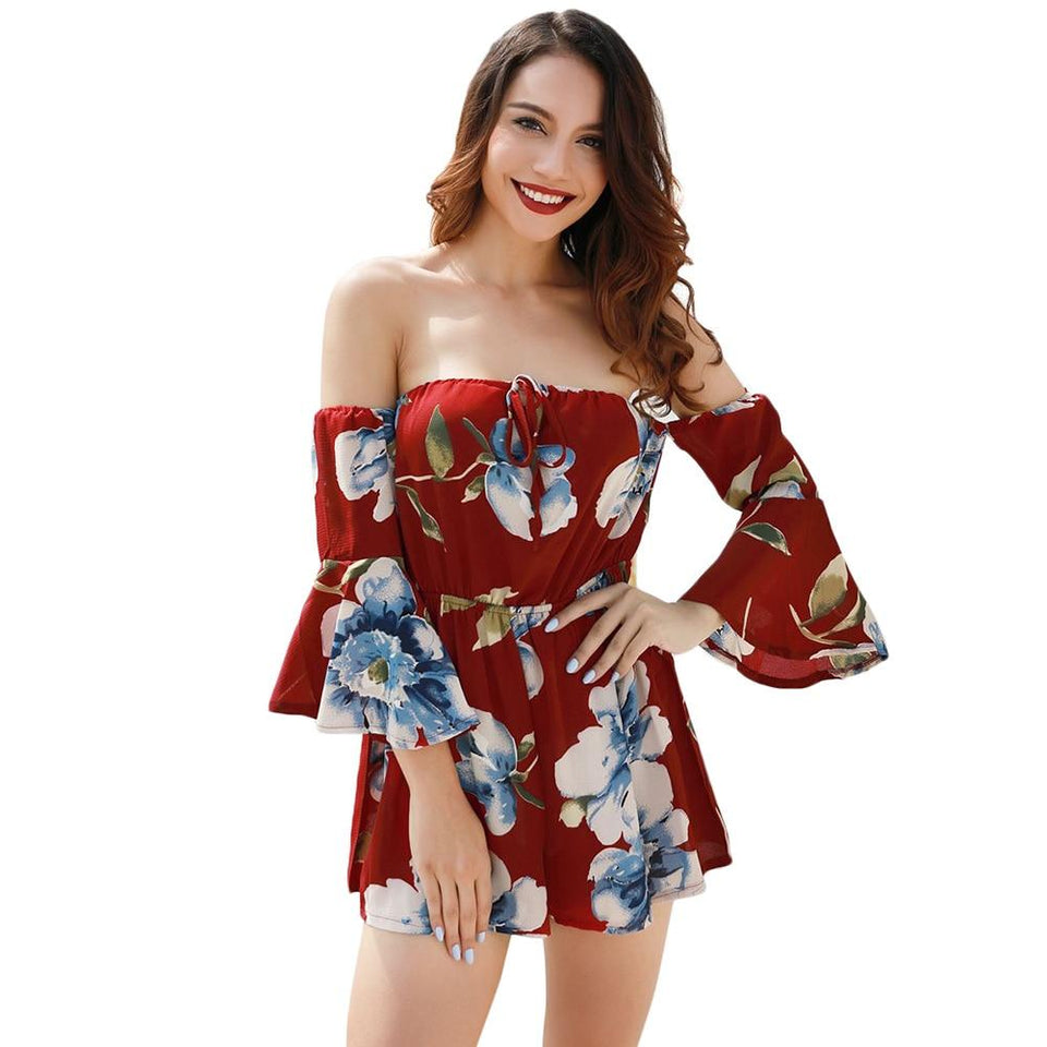 Fashion Floral Print Off Shoulder Rompers - Dots Clothing Store