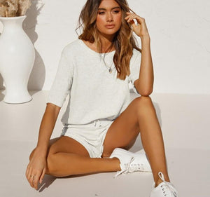 Fashion Knitted Half Sleeve Top + Shorts Set - Dots Clothing Store