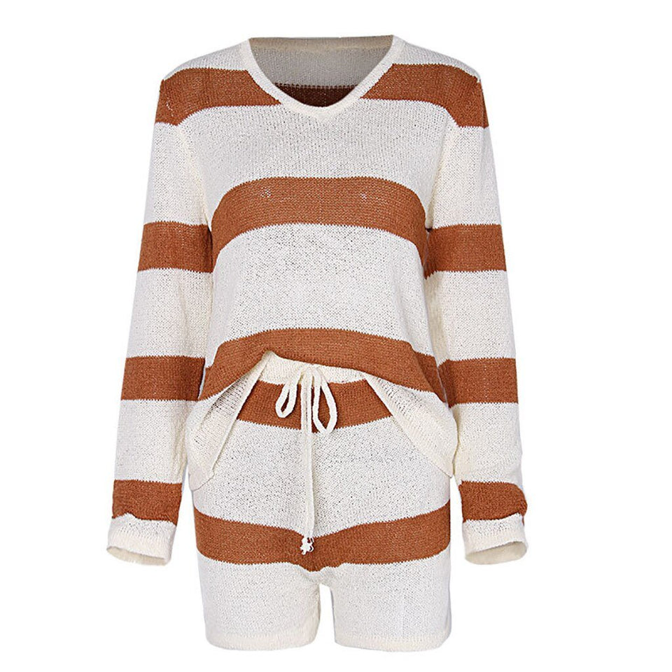 Fashion Knitted Striped Top + Shorts Set - Dots Clothing Store