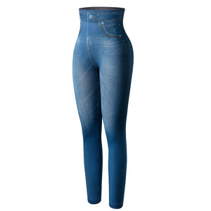 Faux Denim Shaping Jeans Leggings - Dots Clothing Store