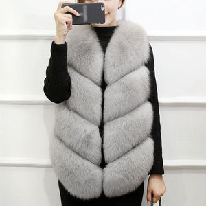 Faux Fur Winter Vest Sleeveless Jacket - Dots Clothing Store