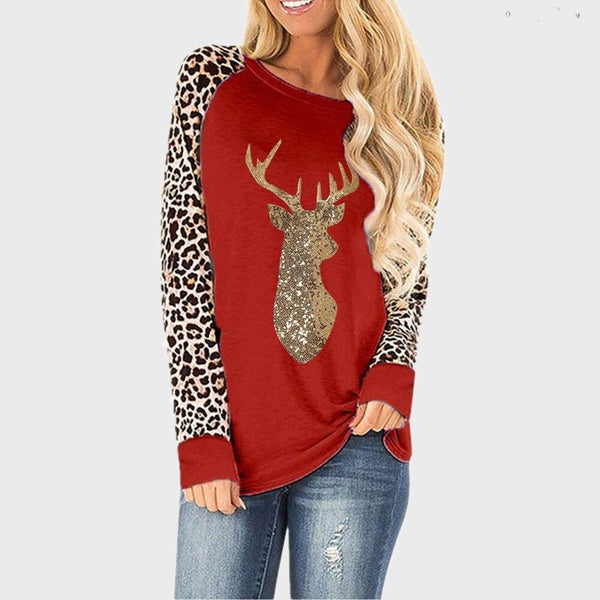 Fawn Sequins Leopard Print Plus Size Top - Dots Clothing Store