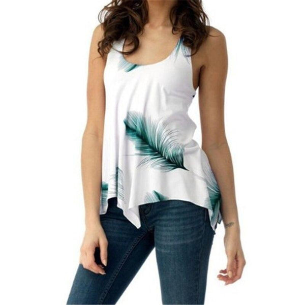 Feather Print Back Lace Up Sleeveless Top - Dots Clothing Store