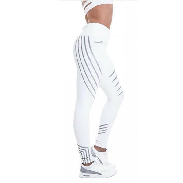 Fitness Striped Print Sport Leggings - Dots Clothing Store