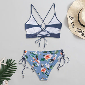 Floral Lace-Up Bikini - Dots Clothing Store