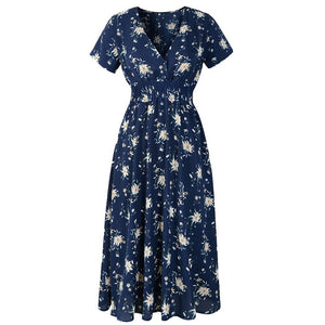 Floral Print Beach Fashion Dress - Dots Clothing Store