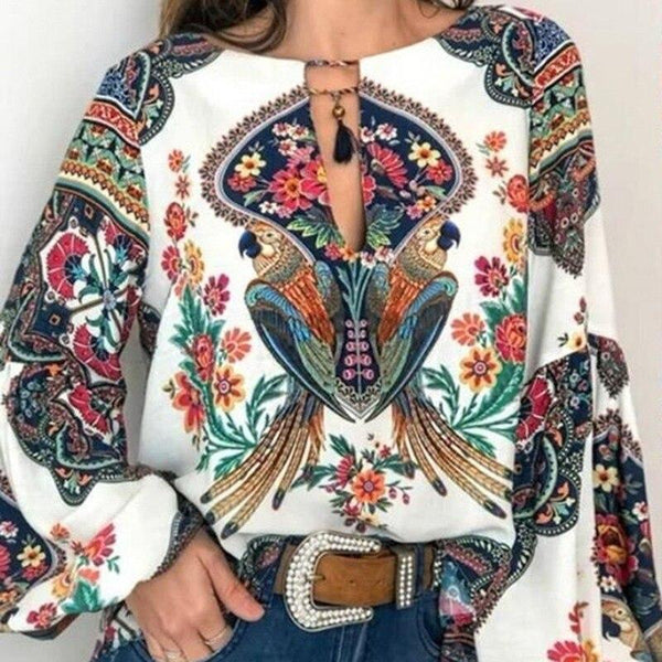 Floral Print Boho Top - Dots Clothing Store