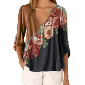 Floral Print Color Splicing Top - Dots Clothing Store