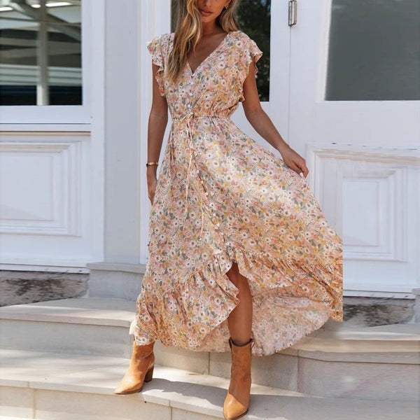 Floral Print Long Chiffon Dress - Dots Clothing Store